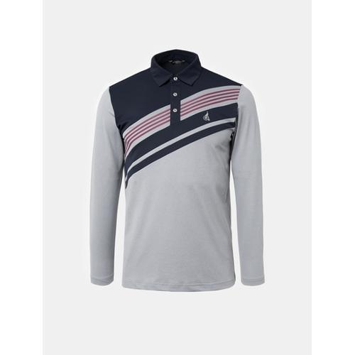 [빈폴골프] 남성 그레이 사선 스트라이프 칼라 티셔츠 (BJ8841B063)