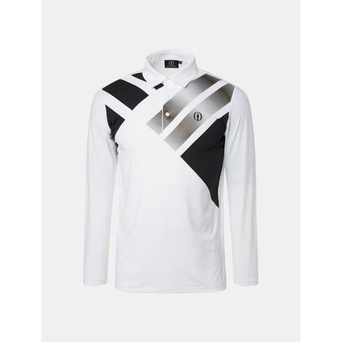 [빈폴골프] [THE OPEN] 남성 화이트 프린트 칼라 티셔츠 (BJ8741F341)