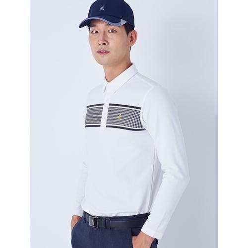 [빈폴골프] 남성 화이트 하운드 투스 포인트 칼라 티셔츠 (BJ8841B091)