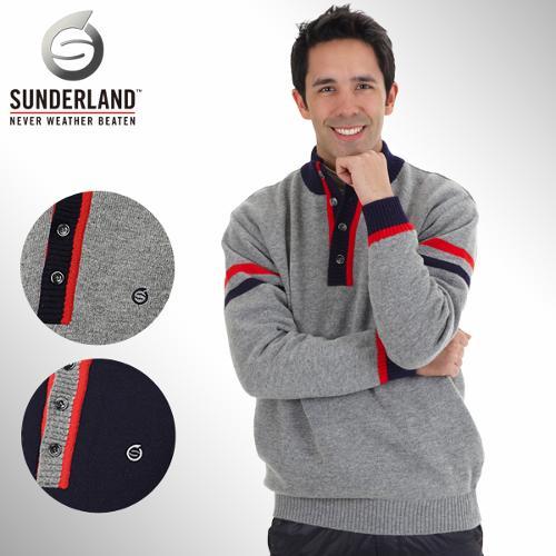 [Sunderland Of Scotland] 선덜랜드 남성 자수로고 4버튼 방풍소재 니트 긴팔스웨터 - 16341SW01