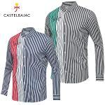 [까스텔바작] 폴리 3단 배색 스트라이프 남성 카라넥 긴팔 셔츠/골프웨어_BG8FTS006