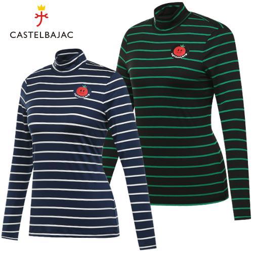 [까스텔바작] 폴리스판 큐티 토마토 줄무늬 여성 하프넥 긴팔티셔츠/골프웨어_BG7FTL502