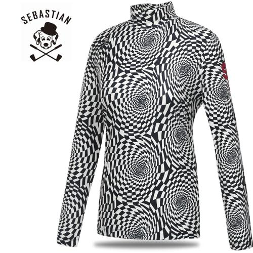 [세바스찬골프] 세련 기이학적 패턴 스판 여성 하프넥 긴팔티셔츠/골프웨어_246891