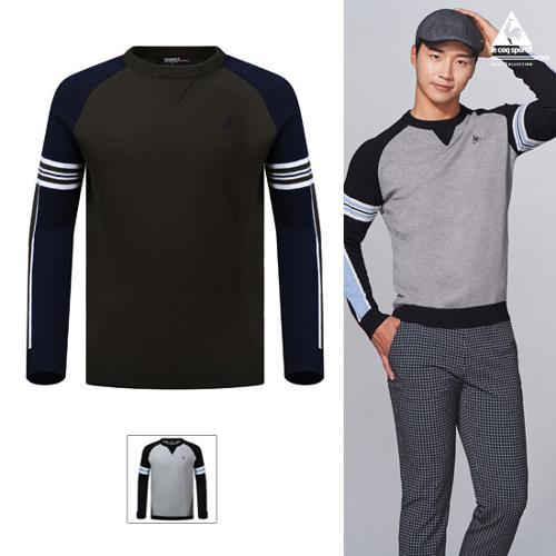 [19FW 신상]남성 라글란 소매 배색 홑겹 스웨터 (G9321MKP93)