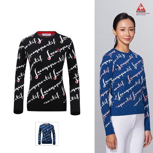 [르꼬끄골프] 여성 레터링 전판패턴 홑겹 스웨터 (G9322LKP94)