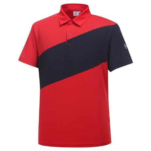 [와이드앵글] 남성 간절 보더 배색 반팔 티셔츠 WMU19201R2