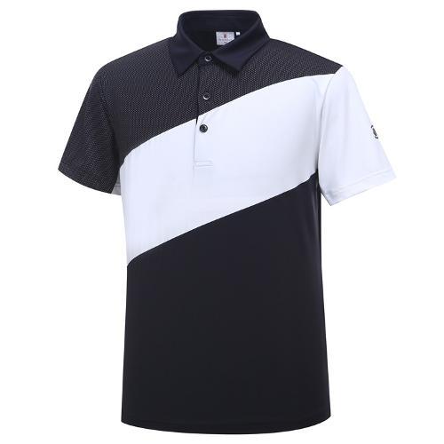 [와이드앵글] 남성 간절 보더 배색 반팔 티셔츠 WMU19201Z1