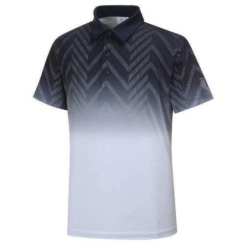 [와이드앵글] 남성 간절 보더 그라데이션 패턴 반팔 티셔츠 WMU19202Z1