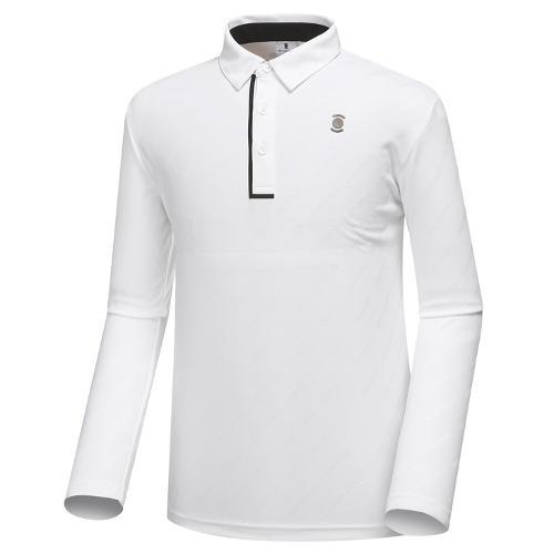 [와이드앵글] 남성 웰딩 디테일 자카드 긴팔 티셔츠 WMU18233W3