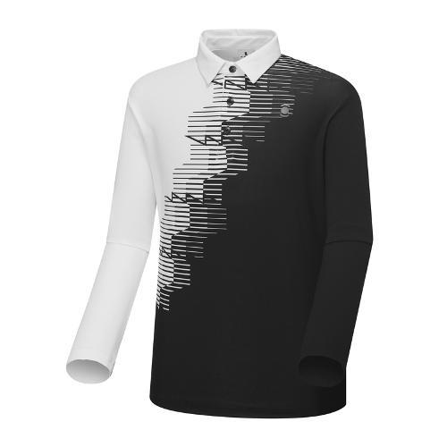 [와이드앵글] 남성 잔조직감 프린트 긴팔 티셔츠 WMU18234Z1