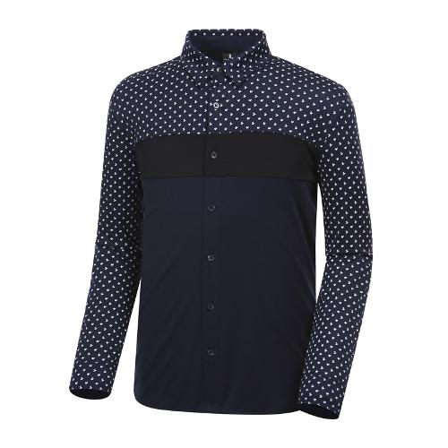[와이드앵글] 남성 패턴 배색 져지 긴팔 셔츠 WMU18431N4