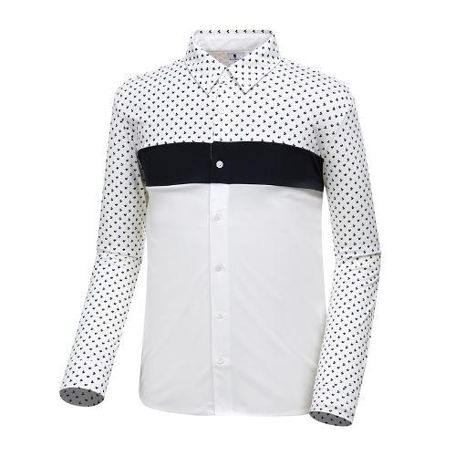 [와이드앵글] 남성 패턴 배색 져지 긴팔 셔츠 WMU18431W3