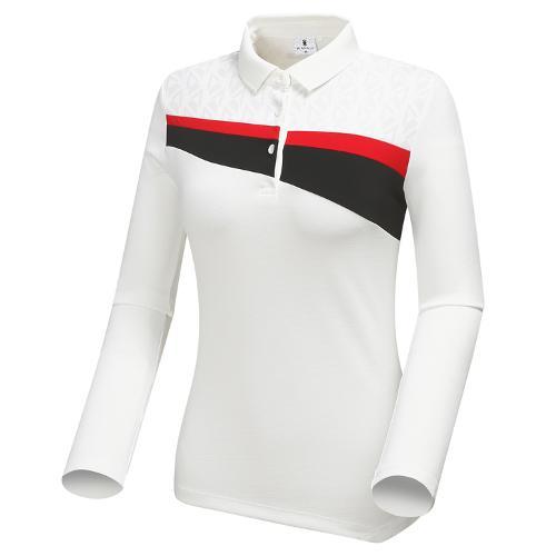 [와이드앵글] 여성 변형 가슴포인트 카라 긴팔 티셔츠 WWU18237W3