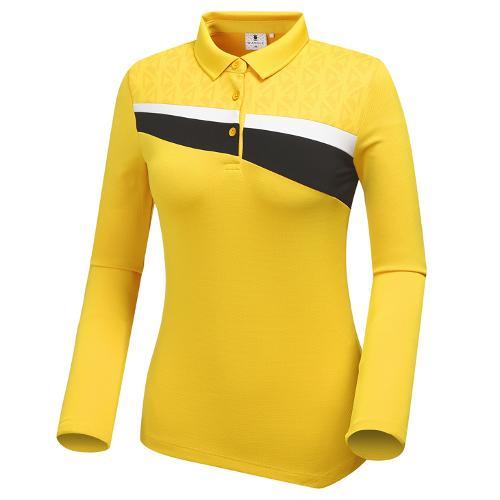 [와이드앵글] 여성 변형 가슴포인트 카라 긴팔 티셔츠 WWU18237Y4