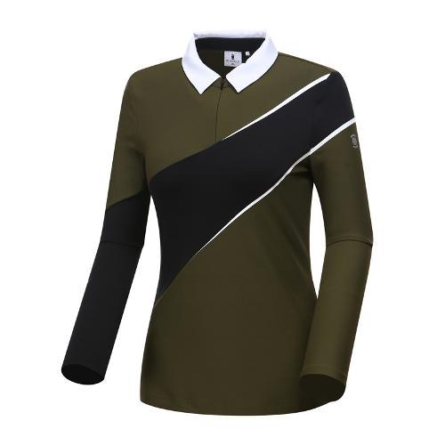 [와이드앵글] 여성 변형보더 카라 티셔츠 WWU18206K7