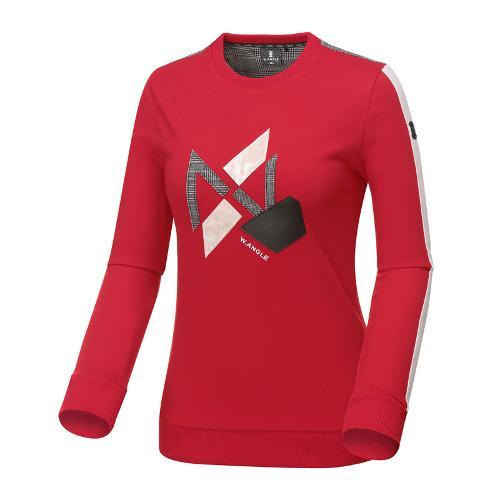 [와이드앵글] 여성 글렌체크 배색 풀오버 긴팔 티셔츠 WWU18238R2