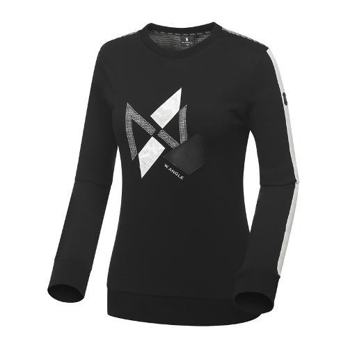 [와이드앵글] 여성 글렌체크 배색 풀오버 긴팔 티셔츠 WWU18238Z1