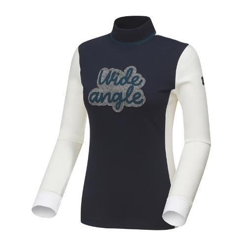와이드앵글 여성 블럭형 스텐카라 긴팔 티셔츠 WWU18239N4