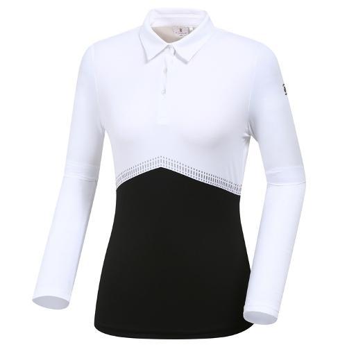 [와이드앵글] 여성 W블럭 카라 티셔츠 WWU19204W3