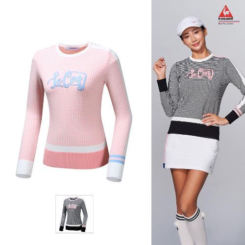[르꼬끄골프] [19FW 신상]여성 하운드투스패턴 스웨터 풀오버 (G9322LKP95)