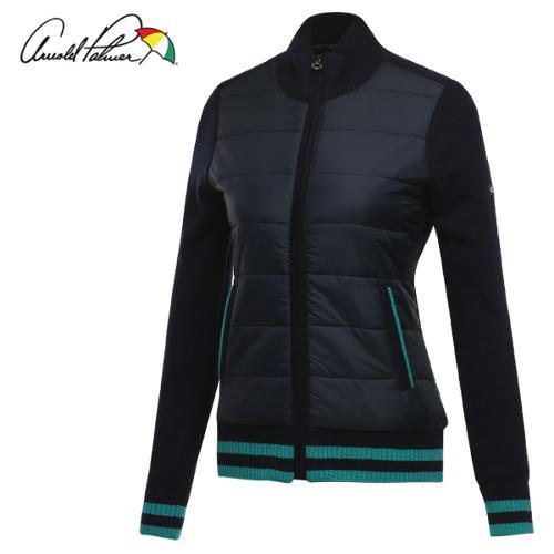 [아놀드파마] 패딩배색 퀼팅 여성 방풍니트 바람막이 점퍼/골프웨어_ALW7SC11