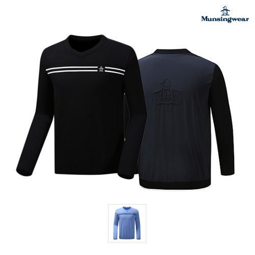[먼싱웨어] 남성 등판우븐믹스 브이넥 스웨터 (M9321MSW94)