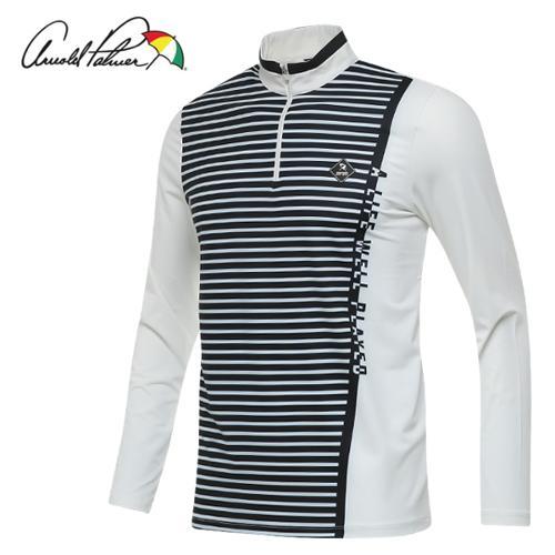 [아놀드파마] 폴리스판 사선로고 줄무늬 남성 반집업 긴팔티셔츠/골프웨어_AMF8KH03