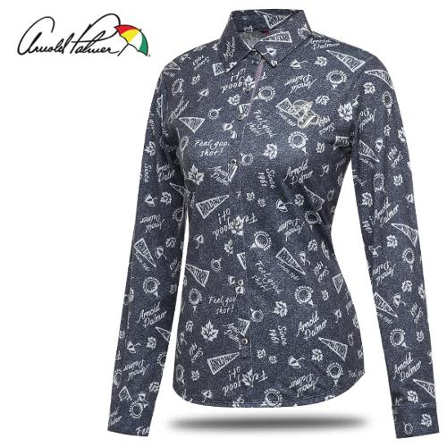 [아놀드파마] 일러스트 배색 여성 카라넥 셔츠형 긴팔티셔츠/골프웨어_246858
