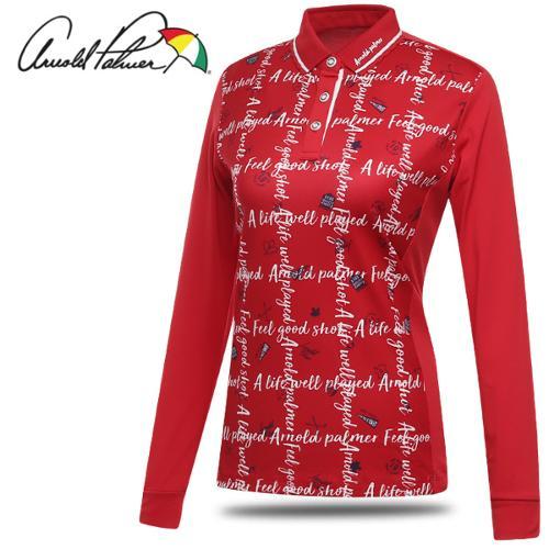 [아놀드파마] 레터링 아트웍 여성 카라넥 긴팔티셔츠/골프웨어_ALF8KL02