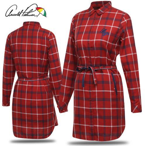 [아놀드파마] 체크 허리 리본 포인트 여성 롱 긴팔 셔츠/골프웨어_ALF8WS53