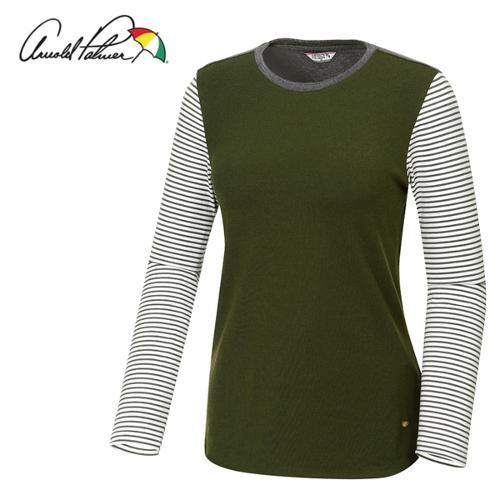 [아놀드파마] 레이온 스판 줄무늬배색 여성 긴팔티셔츠/골프웨어_ALF7KR01