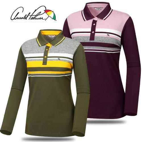 [아놀드파마] 폴리스판 배색줄무늬 카라넥 여성 긴팔티셔츠/골프웨어_ALF7KL93