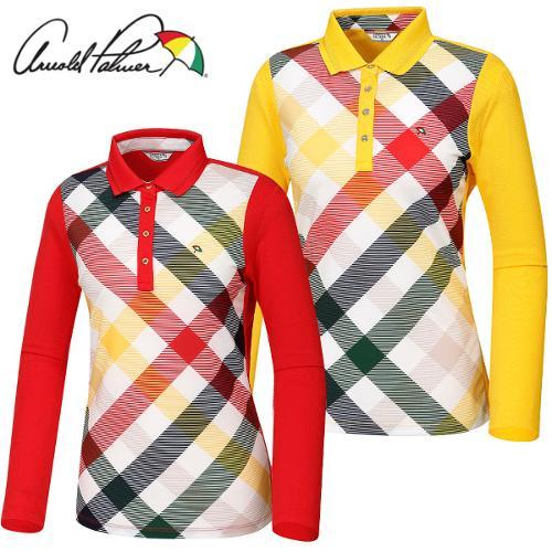 [아놀드파마] 면스판 카라넥 체크배색 여성 긴팔티셔츠/골프웨어_ALF7KL02