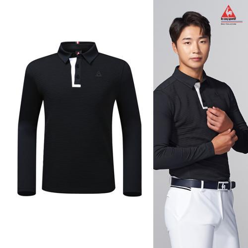 [19FW 신상]남성 엠보 몸판 배색 긴팔 카라 티셔츠 (G9321MTL96)