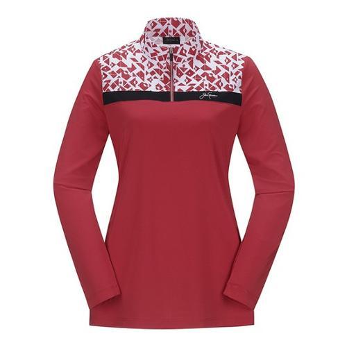 [JACKNICKLAUS] 여성 믹스 패턴 반집업 티셔츠_LWTAS18831REX