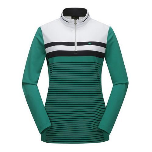[JACKNICKLAUS] 여성 컬러 믹스 S/T 반집업 티셔츠_LWTAS19021GRX