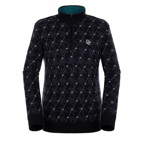[팬텀]남성 패턴 믹스 반집업 방풍 스웨터 21183SN121_BK