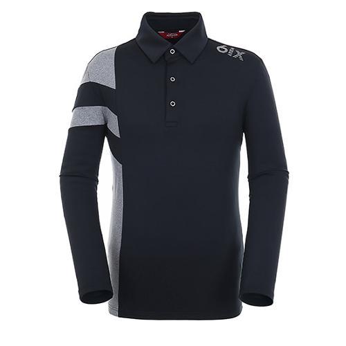 [팬텀]남성 스트라이프 배색 기모 티셔츠 21183TO023_BK