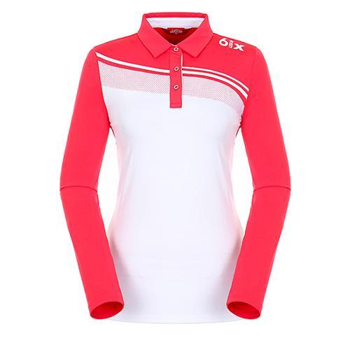 [팬텀]여성 도트 믹스 블로킹 기모 티셔츠 22183TO071_PK
