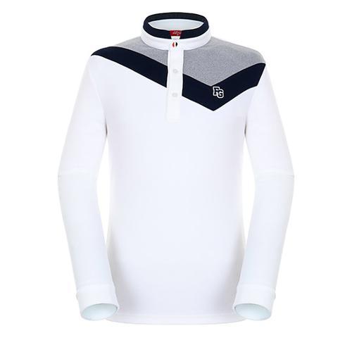 [팬텀]남성 컬러 배색 하이넥 티셔츠 21183TH008_WH