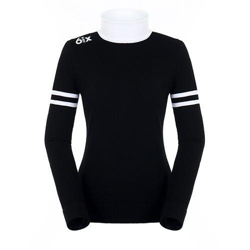 [팬텀]여성 라인 배색 폴로넥 스웨터 22183SN165_BK