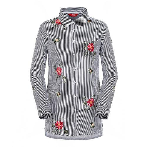 [팬텀]여성 플라워 자수 버튼다운 셔츠 22183JS554_BK