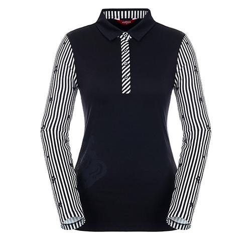 [팬텀]여성 스트라이프 소매 소프트 티셔츠 22183TO056_BK