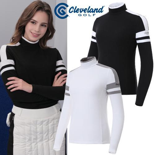 [클리브랜드골프] 소프트웜 레이온기모 컬러블록 하이넥 여성 긴팔티셔츠/골프웨어_CGKWTS620