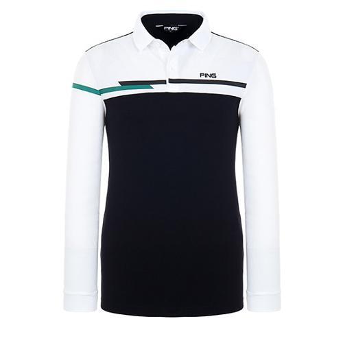 [핑]남성 컬러 블록 긴팔 티셔츠 11283TO914_WH