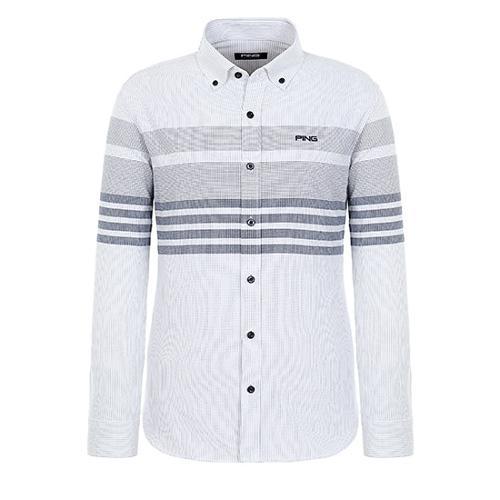 [핑]남성 스트라이프 콤보 코튼 셔츠 11183JS503_WH