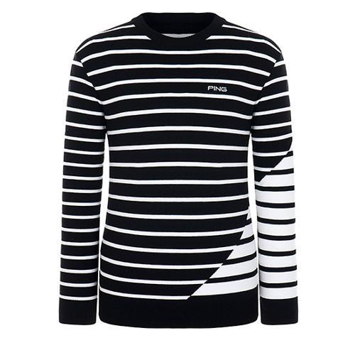 [핑]남성 스트라이프 라운드넥 스웨터 11183SR114_BK
