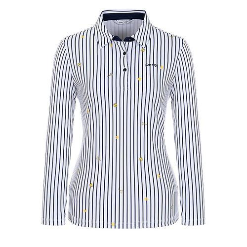 [핑]여성 패턴 프린트 스트라이프 티셔츠 12183TO061_WH