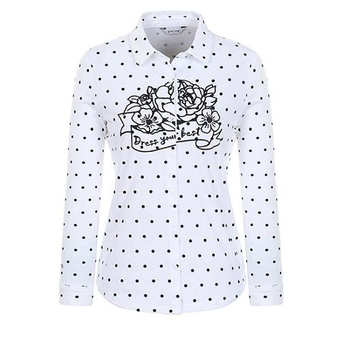 [핑]여성 도트 프린트 믹스 셔츠 12183JS552_IV