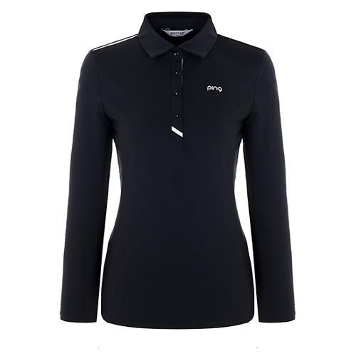 [핑]여성 플래킷 배색 기모 티셔츠 12283TO952_BK